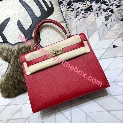 Picture of Hermes Kelly 25cm/28cm/32cm Epsom Leather Tote Bag Red Gold/Silver Buckle