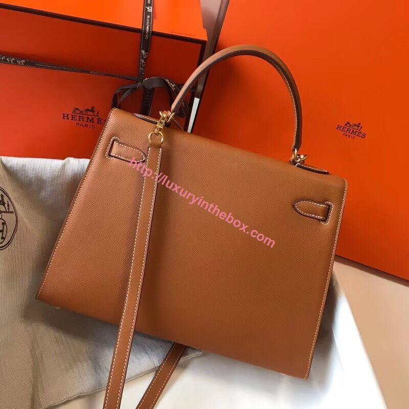 Picture of Hermes Kelly 25cm/28cm/32cm Epsom Leather Tote Bag Khaki Grey Gold/Silver Buckle