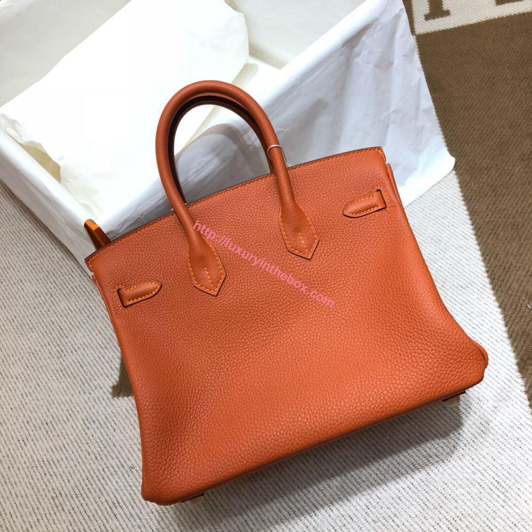 Picture of Hermes Birkin 25cm Epsom Leather Tote Bag Orange with Gold/Silver Buckle
